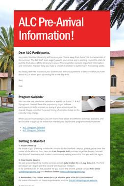 ALC Pre-Arrival Information!