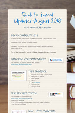 Back to School Updates-August 2018