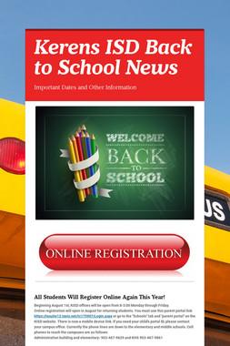 Kerens ISD Back to School News