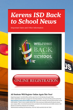 Kerens ISD Back to School News