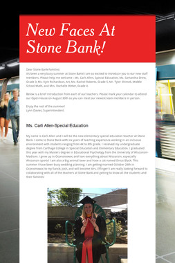 New Faces At Stone Bank!