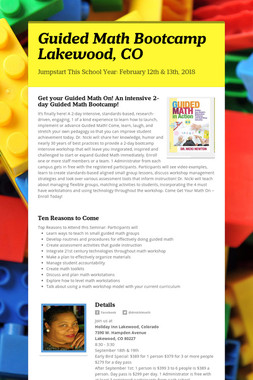 Guided Math Bootcamp Lakewood, CO