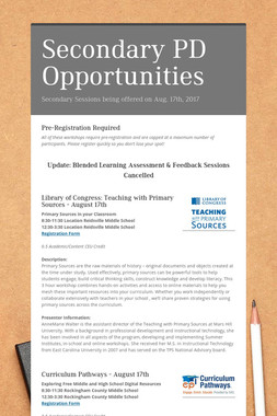 Secondary PD Opportunities