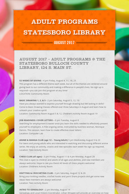 ADULT PROGRAMS STATESBORO LIBRARY