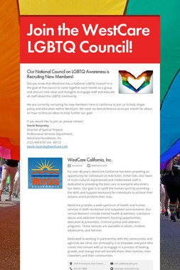 Join the WestCare LGBTQ Council!