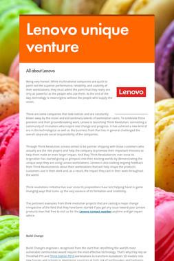 Lenovo unique venture