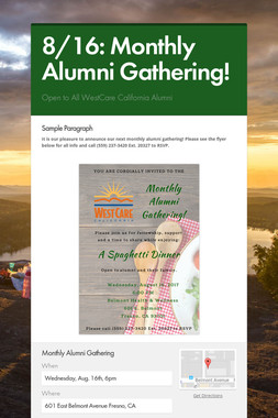 8/16: Monthly Alumni Gathering!