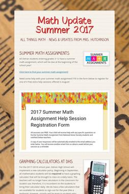 Math Update Summer 2017