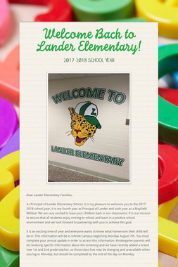 Welcome Back to Lander Elementary!