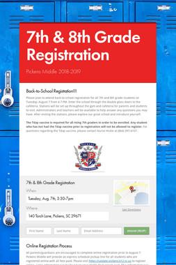 7th & 8th Grade Registration
