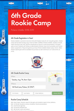 6th Grade Rookie Camp
