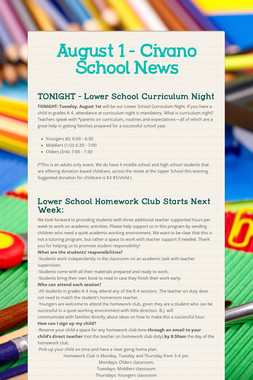August 1 - Civano School News