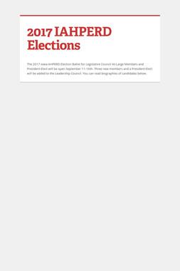 2017 IAHPERD Elections