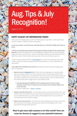 Aug. Tips & July Recognition!
