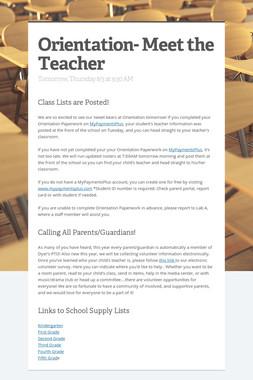 Orientation- Meet the Teacher