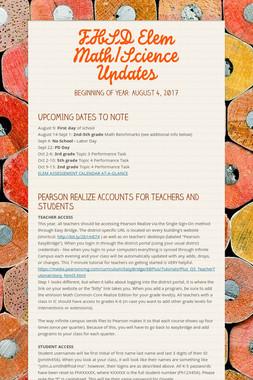 FHSD Elem Math/Science Updates