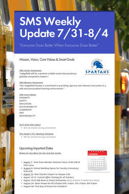 SMS Weekly Update 7/31-8/4