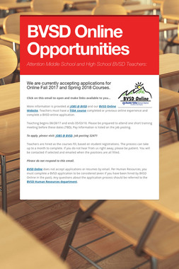 BVSD Online Opportunities