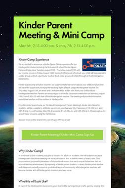 Kinder Parent Meeting & Mini Camp