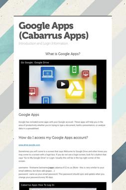 Google Apps (Cabarrus Apps)