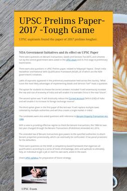 UPSC Prelims Paper-2017 -Tough Game