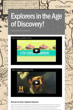 Explorers in the Age of Discovery!
