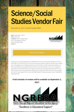 Science/Social Studies Vendor Fair