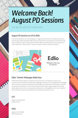 Welcome Back! August PD Sessions