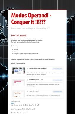 Modus Operandi - Conquer It !!!???