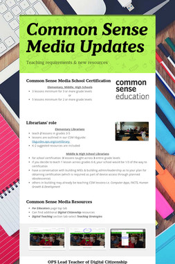 Common Sense Media Updates