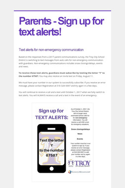 Parents - Sign up for text alerts!