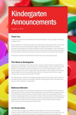 Kindergarten Announcements