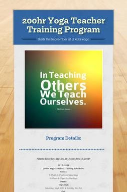 200hr Yoga Teacher Training Program
