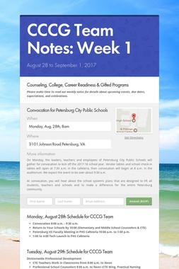 CCCG Team Notes: Week 1