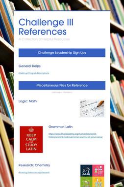 Challenge III References