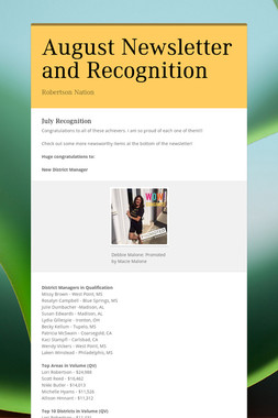 August Newsletter and Recognition
