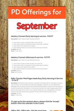 PD Offerings for