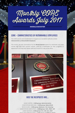 Monthly CORE Awards July 2017