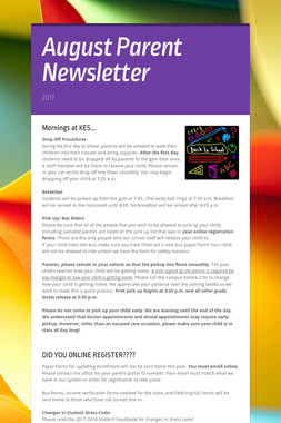 August Parent Newsletter