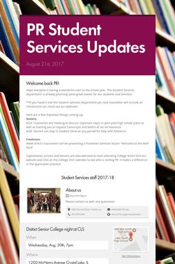 PR Student Services Updates