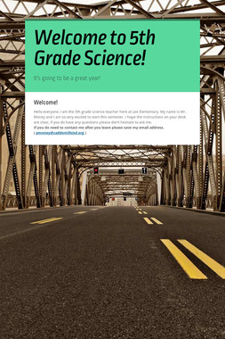 Welcome to 5th Grade Science!