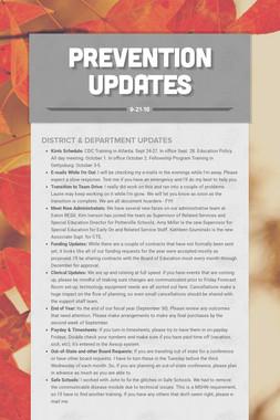 Prevention Updates