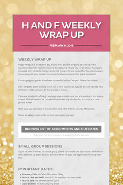 H and F Weekly Wrap Up
