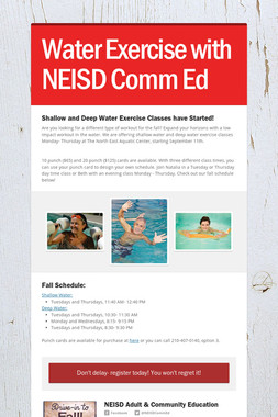 Water Exercise with NEISD Comm Ed