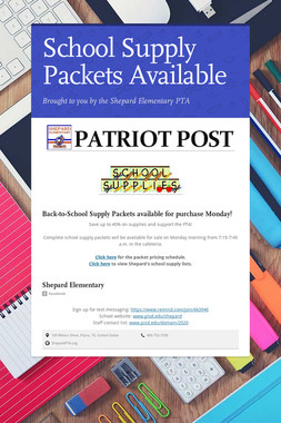 School Supply Packets Available