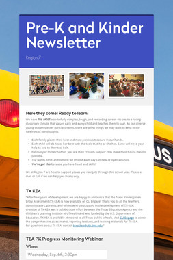 Pre-K and Kinder Newsletter