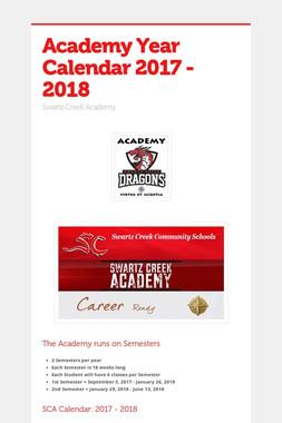 Academy Year Calendar 2017 - 2018