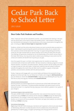 Cedar Park Back to School Letter