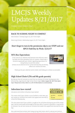 LMCJS Weekly Updates 8/21/2017