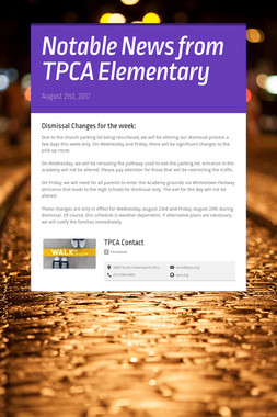 Notable News from TPCA Elementary